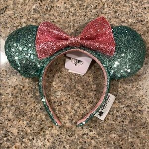 Disney Parks  Mint & Pink Sequin Minnie Ears